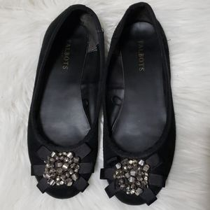 Talbots Beaded Black Suede Flats